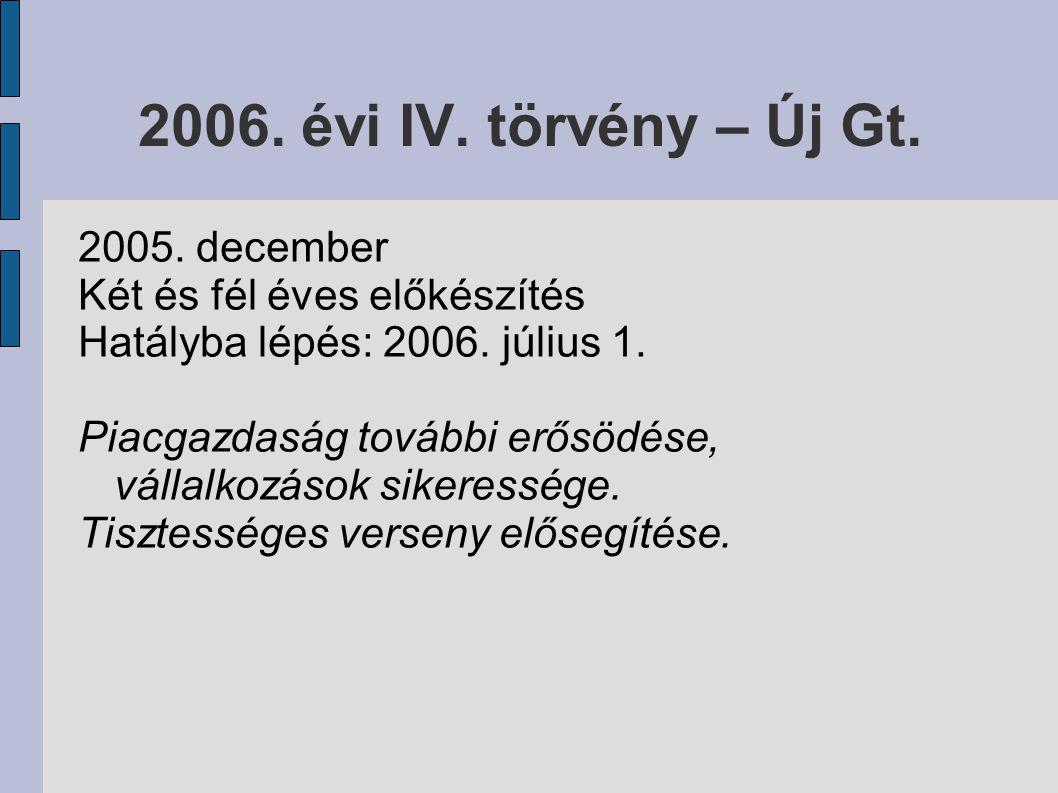 2006. évi IV. törvény – Új Gt. 2005. december Két és fél éves előkészítés Hatályba lépés: 2006.