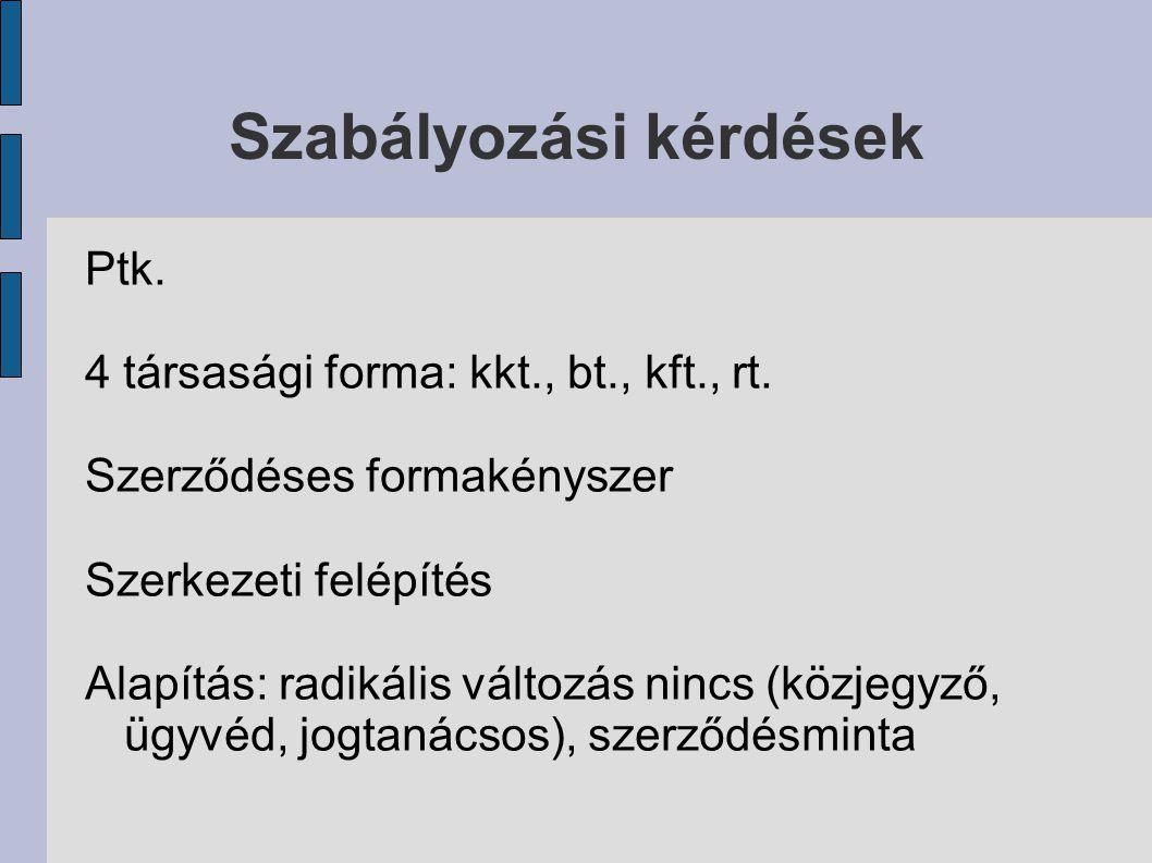 Szabályozási kérdések Ptk. 4 társasági forma: kkt., bt., kft., rt.