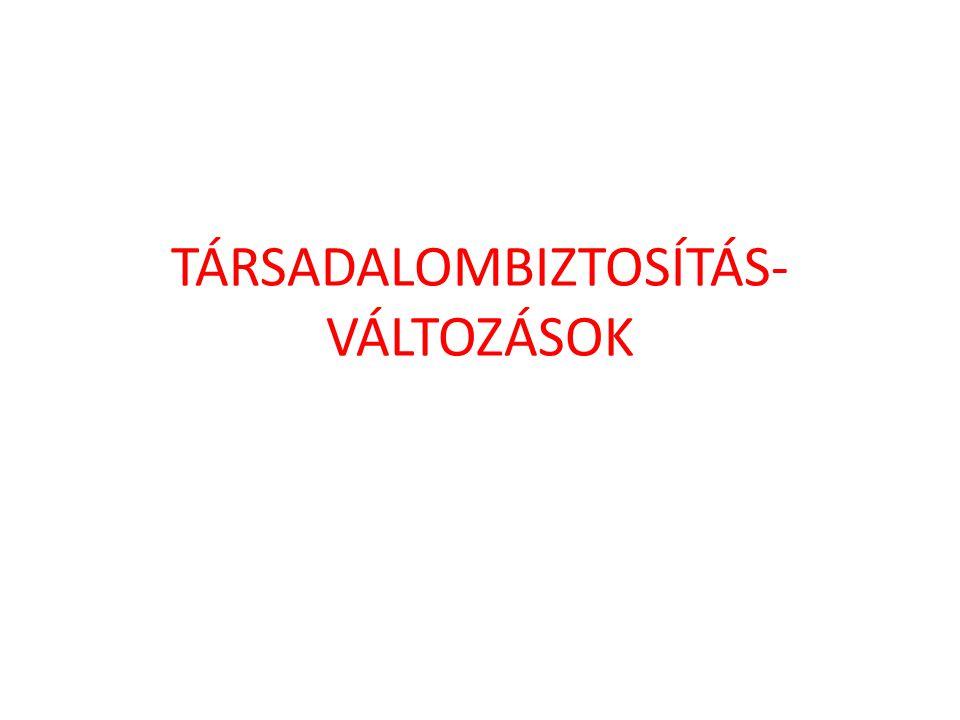 TÁRSADALOMBIZTOSÍTÁS- VÁLTOZÁSOK