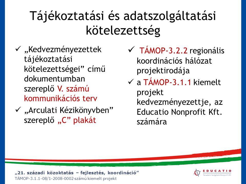 """""""21. századi közoktatás – fejlesztés, koordináció"""" TÁMOP-3.1.1-08/1-2008-0002 számú kiemelt projekt Tájékoztatási és adatszolgáltatási kötelezettség """""""
