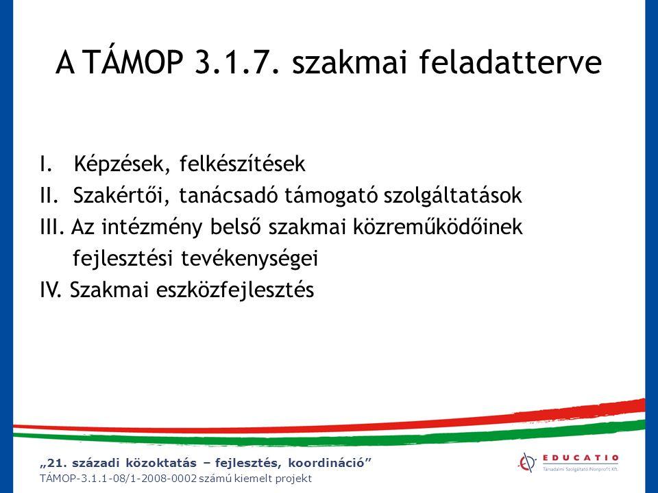 """""""21. századi közoktatás – fejlesztés, koordináció"""" TÁMOP-3.1.1-08/1-2008-0002 számú kiemelt projekt A TÁMOP 3.1.7. szakmai feladatterve I. Képzések, f"""