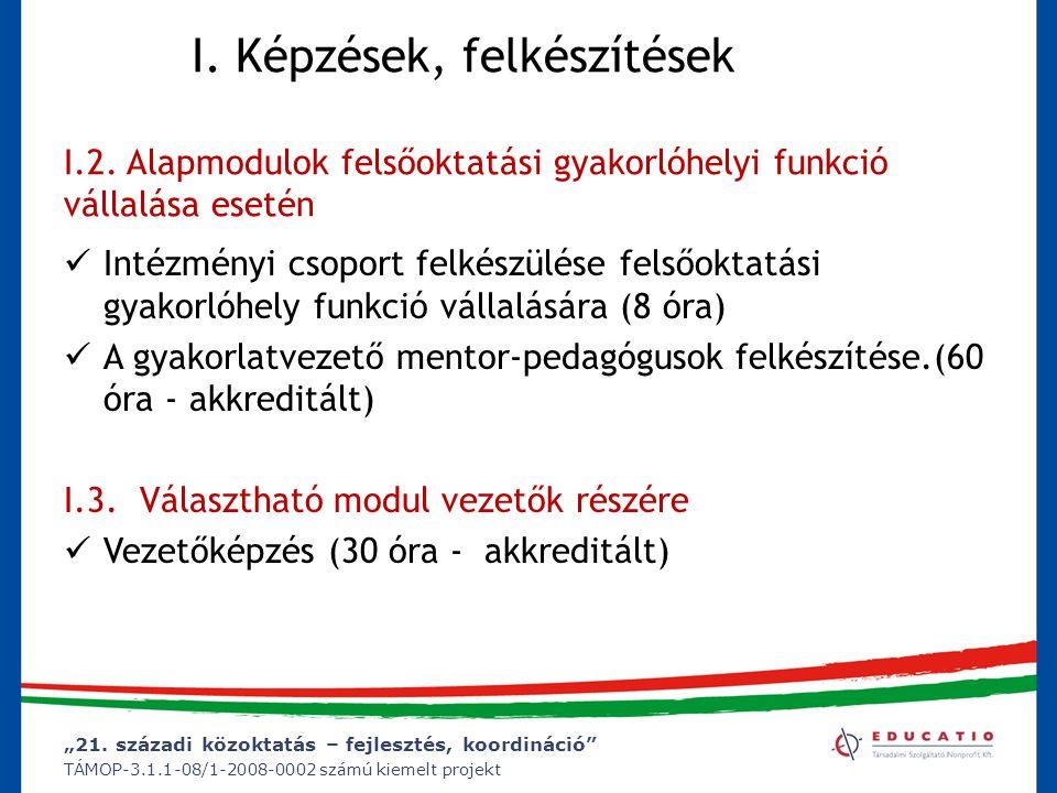 """""""21. századi közoktatás – fejlesztés, koordináció"""" TÁMOP-3.1.1-08/1-2008-0002 számú kiemelt projekt I. Képzések, felkészítések I.2. Alapmodulok felsőo"""