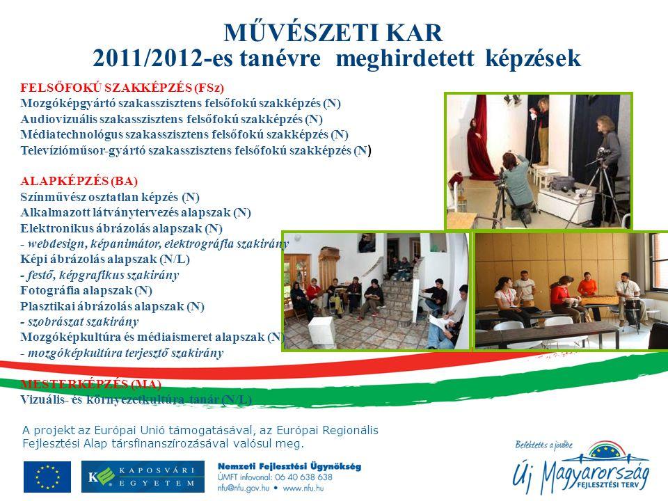 A projekt az Európai Unió támogatásával, az Európai Regionális Fejlesztési Alap társfinanszírozásával valósul meg. MŰVÉSZETI KAR 2011/2012-es tanévre