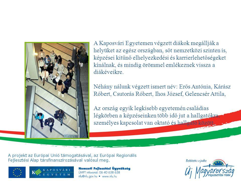 A projekt az Európai Unió támogatásával, az Európai Regionális Fejlesztési Alap társfinanszírozásával valósul meg. A Kaposvári Egyetemen végzett diáko