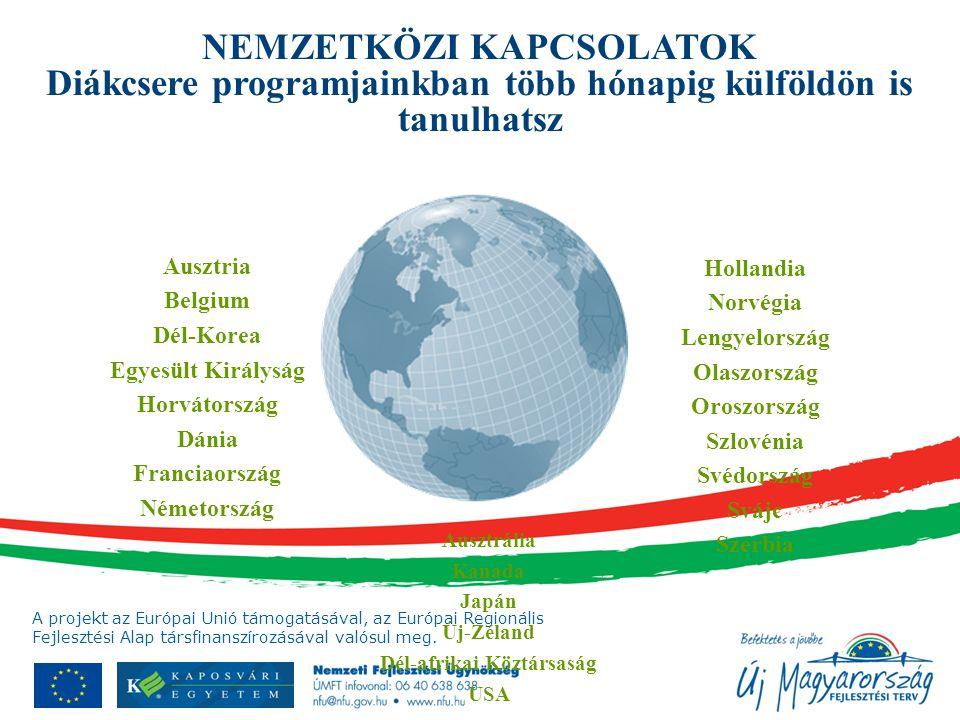 Hollandia Norvégia Lengyelország Olaszország Oroszország Szlovénia Svédország Svájc Szerbia Ausztrália Kanada Japán Új-Zéland Dél-afrikai Köztársaság USA Ausztria Belgium Dél-Korea Egyesült Királyság Horvátország Dánia Franciaország Németország NEMZETKÖZI KAPCSOLATOK Diákcsere programjainkban több hónapig külföldön is tanulhatsz