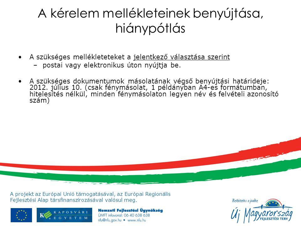 A projekt az Európai Unió támogatásával, az Európai Regionális Fejlesztési Alap társfinanszírozásával valósul meg. A kérelem mellékleteinek benyújtása