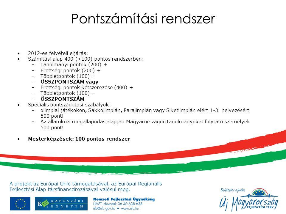 A projekt az Európai Unió támogatásával, az Európai Regionális Fejlesztési Alap társfinanszírozásával valósul meg. Pontszámítási rendszer 2012-es felv