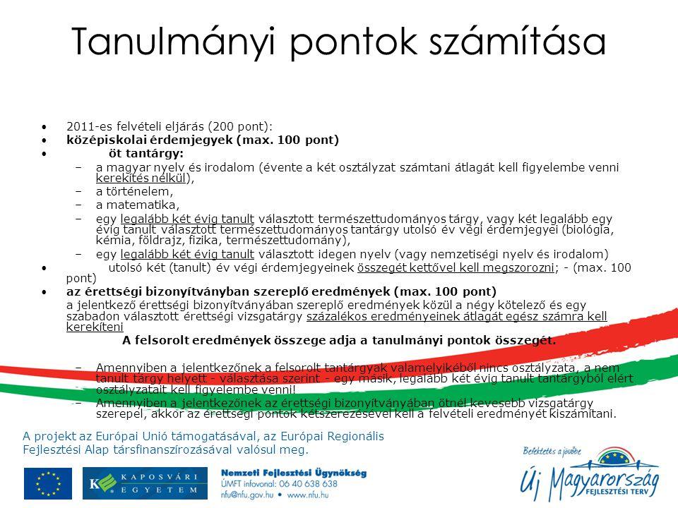 A projekt az Európai Unió támogatásával, az Európai Regionális Fejlesztési Alap társfinanszírozásával valósul meg. Tanulmányi pontok számítása 2011-es