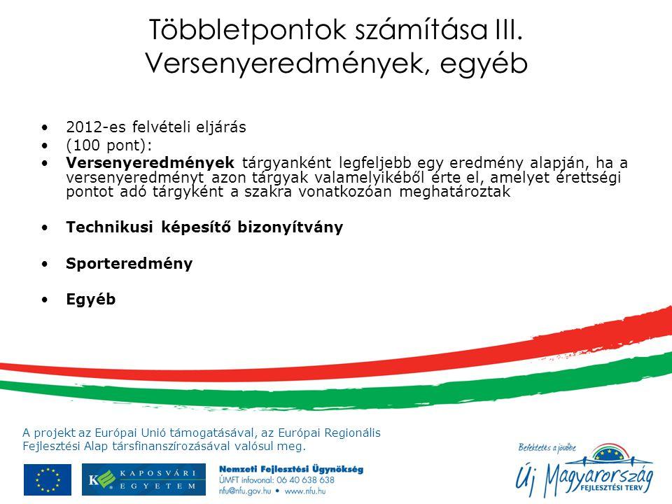 A projekt az Európai Unió támogatásával, az Európai Regionális Fejlesztési Alap társfinanszírozásával valósul meg. Többletpontok számítása III. Versen