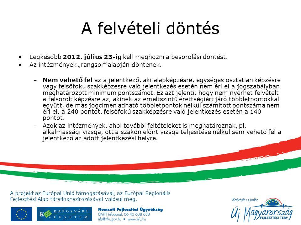 A projekt az Európai Unió támogatásával, az Európai Regionális Fejlesztési Alap társfinanszírozásával valósul meg. A felvételi döntés Legkésőbb 2012.