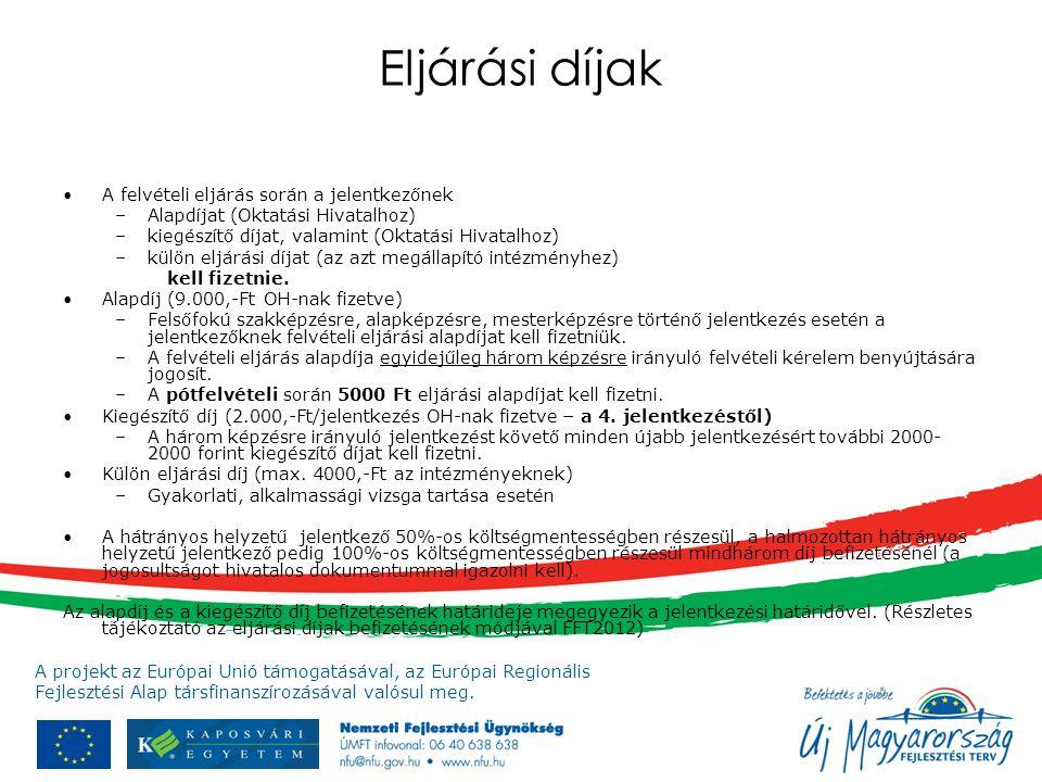 A projekt az Európai Unió támogatásával, az Európai Regionális Fejlesztési Alap társfinanszírozásával valósul meg. Eljárási díjak A felvételi eljárás
