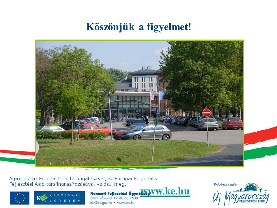 A projekt az Európai Unió támogatásával, az Európai Regionális Fejlesztési Alap társfinanszírozásával valósul meg. Köszönjük a figyelmet! www.ke.hu