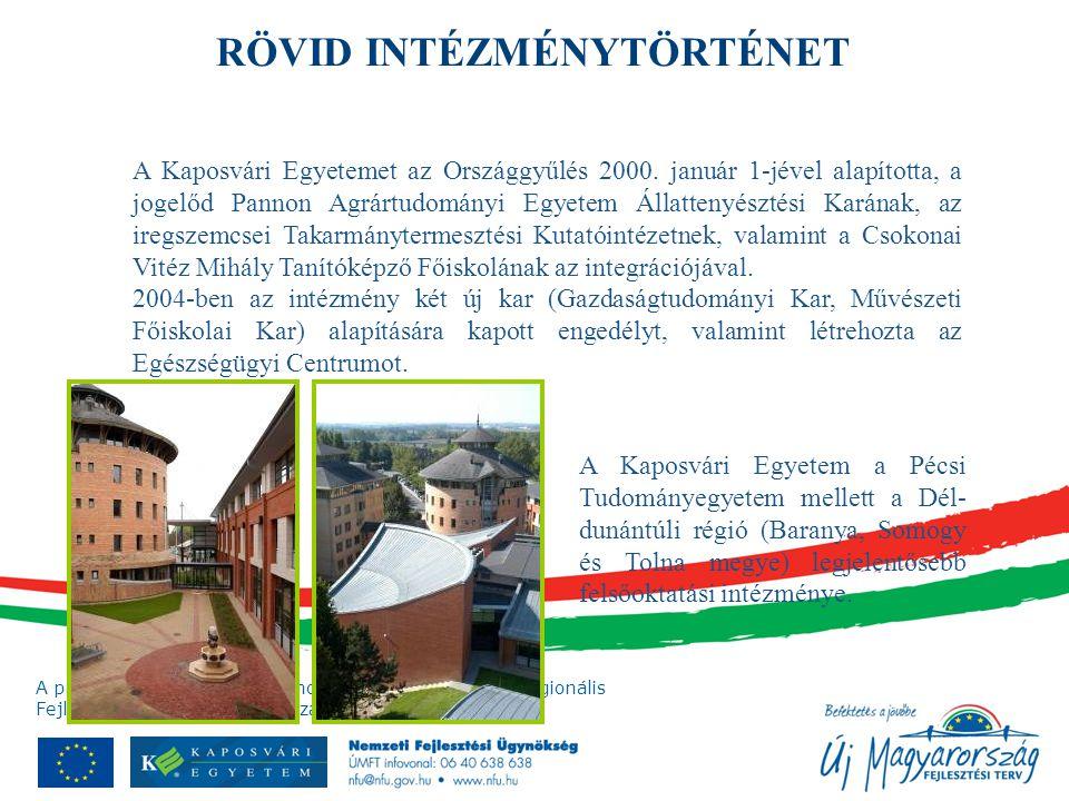 A projekt az Európai Unió támogatásával, az Európai Regionális Fejlesztési Alap társfinanszírozásával valósul meg. A Kaposvári Egyetemet az Országgyűl