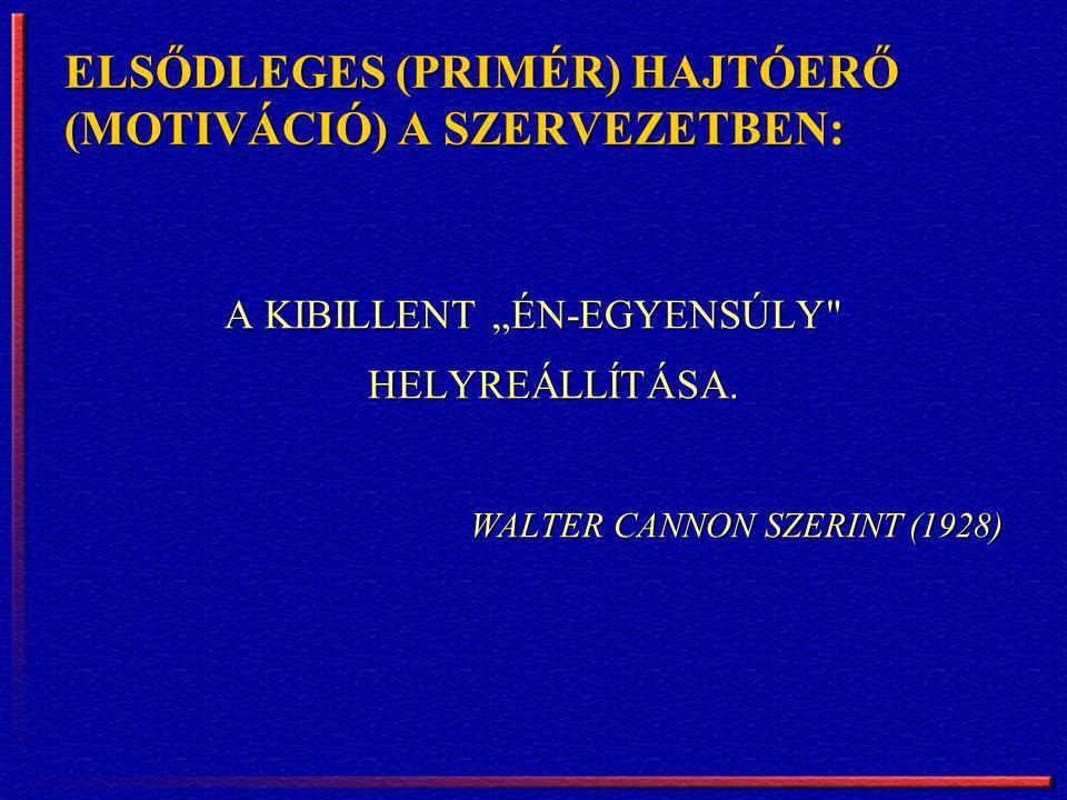 """ELSŐDLEGES (PRIMÉR) HAJTÓERŐ (MOTIVÁCIÓ) A SZERVEZETBEN: A KIBILLENT """"ÉN-EGYENSÚLY"""