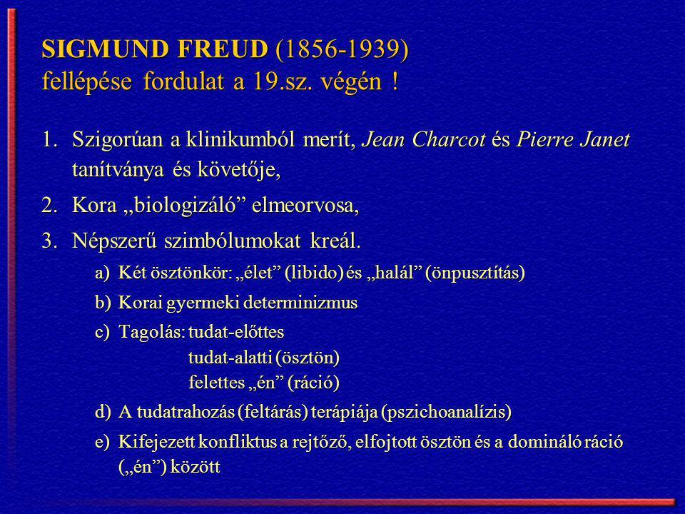 SIGMUND FREUD (1856-1939) fellépése fordulat a 19.sz. végén ! 1.Szigorúan a klinikumból merít, Jean Charcot és Pierre Janet tanítványa és követője, 2.