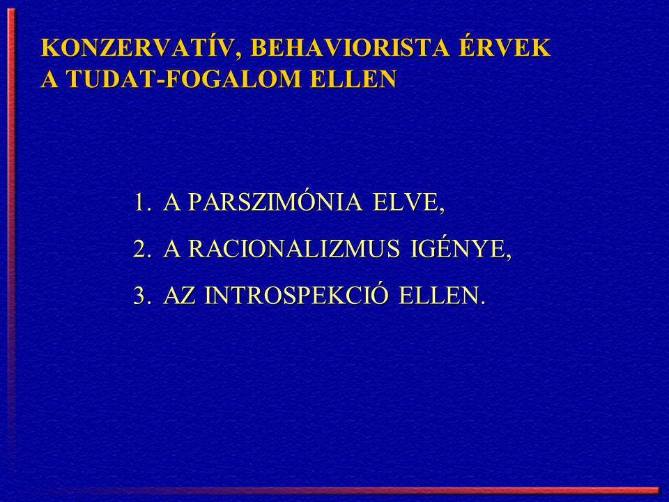 KONZERVATÍV, BEHAVIORISTA ÉRVEK A TUDAT-FOGALOM ELLEN 1.A PARSZIMÓNIA ELVE, 2.A RACIONALIZMUS IGÉNYE, 3.AZ INTROSPEKCIÓ ELLEN.