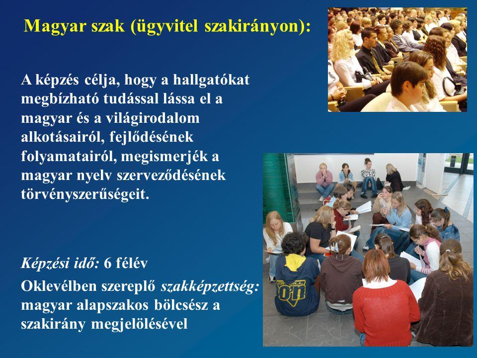 A képzés célja, hogy a hallgatókat megbízható tudással lássa el a magyar és a világirodalom alkotásairól, fejlődésének folyamatairól, megismerjék a magyar nyelv szerveződésének törvényszerűségeit.