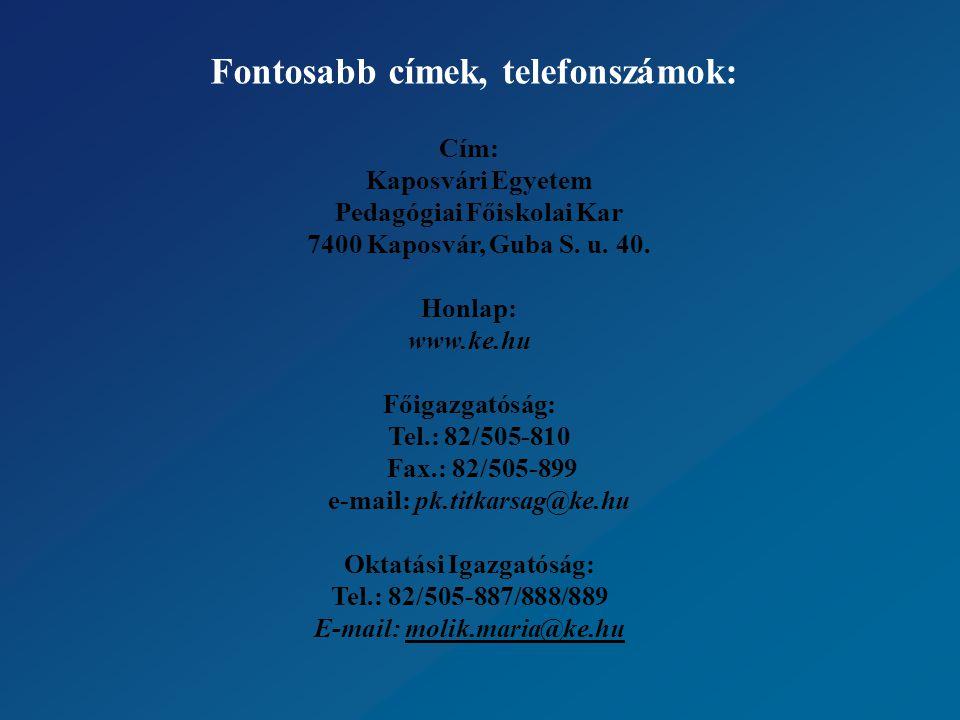 Fontosabb címek, telefonszámok: Cím: Kaposvári Egyetem Pedagógiai Főiskolai Kar 7400 Kaposvár, Guba S.