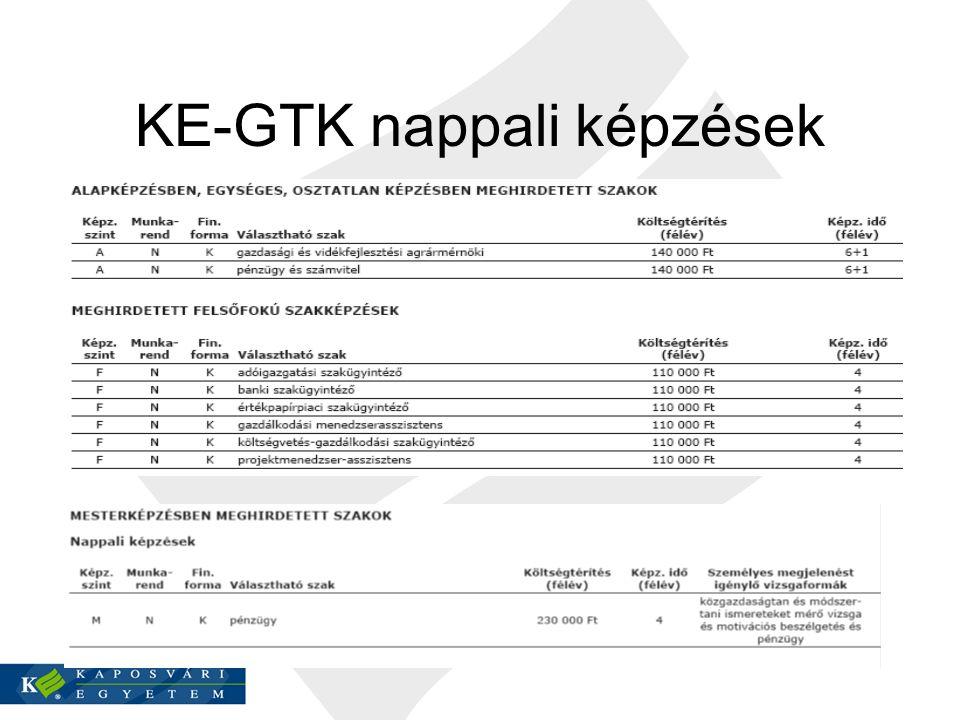 KE-GTK nappali képzések