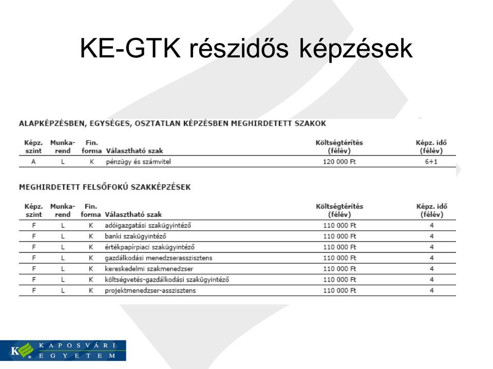 KE-GTK részidős képzések