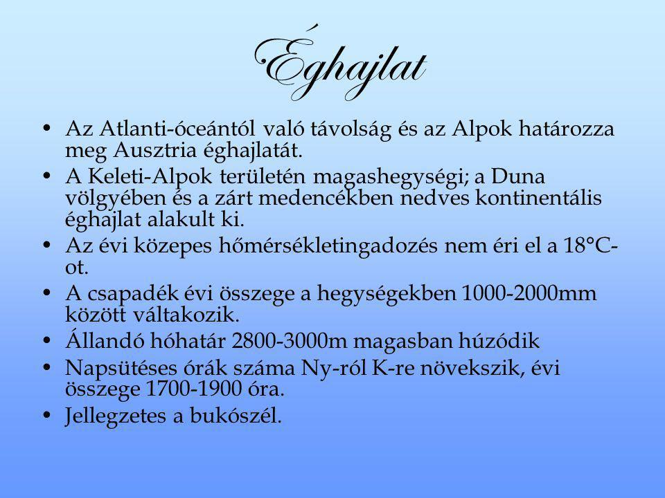 Éghajlat Az Atlanti-óceántól való távolság és az Alpok határozza meg Ausztria éghajlatát. A Keleti-Alpok területén magashegységi; a Duna völgyében és