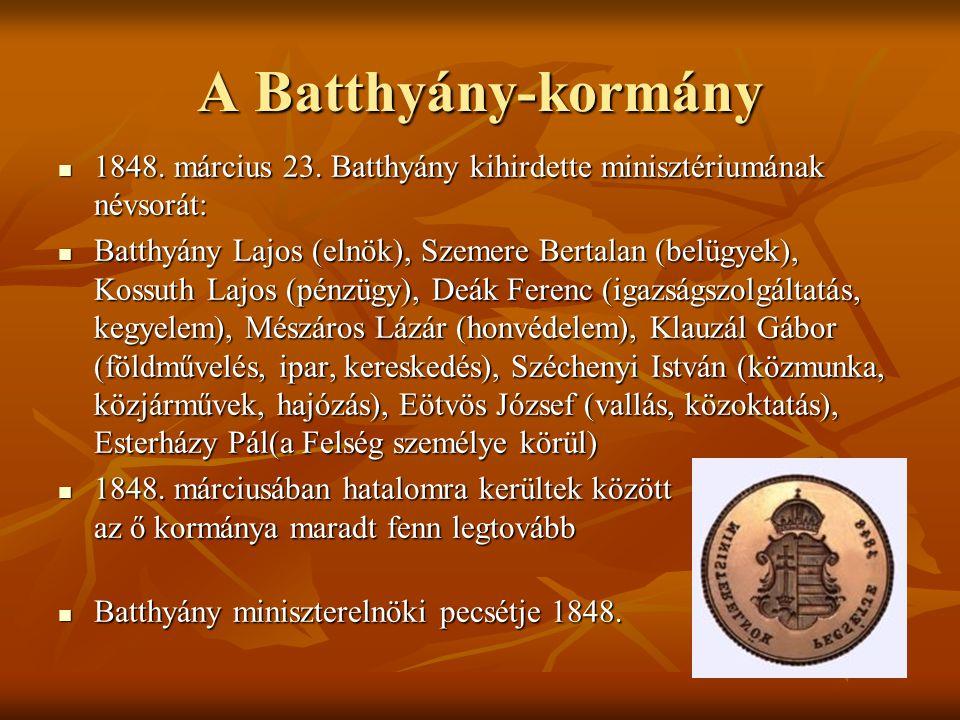 A Batthyány-kormány 1848. március 23. Batthyány kihirdette minisztériumának névsorát: 1848. március 23. Batthyány kihirdette minisztériumának névsorát