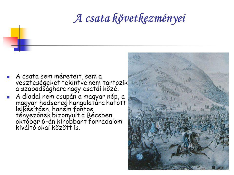 A csata következményei A csata sem méreteit, sem a veszteségeket tekintve nem tartozik a szabadságharc nagy csatái közé.