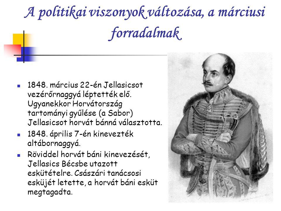 A politikai viszonyok változása, a márciusi forradalmak 1848.