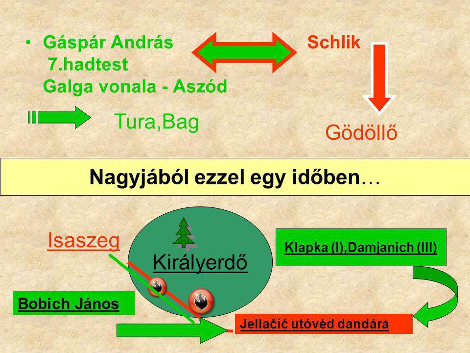 Gáspár András Schlik 7.hadtest Galga vonala - Aszód Tura,Bag Gödöllő Nagyjából ezzel egy időben… Királyerdő Klapka (I),Damjanich (III) Jellačić utóvéd