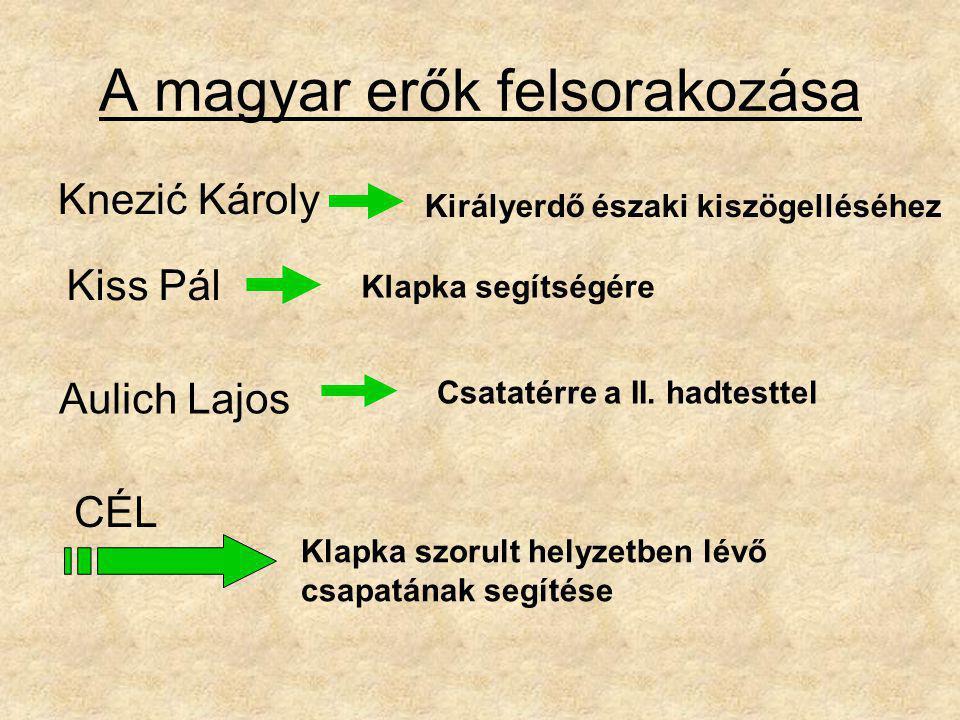 A magyar erők felsorakozása Knezić Károly Királyerdő északi kiszögelléséhez Kiss Pál Klapka segítségére Aulich Lajos Csatatérre a II. hadtesttel CÉL K