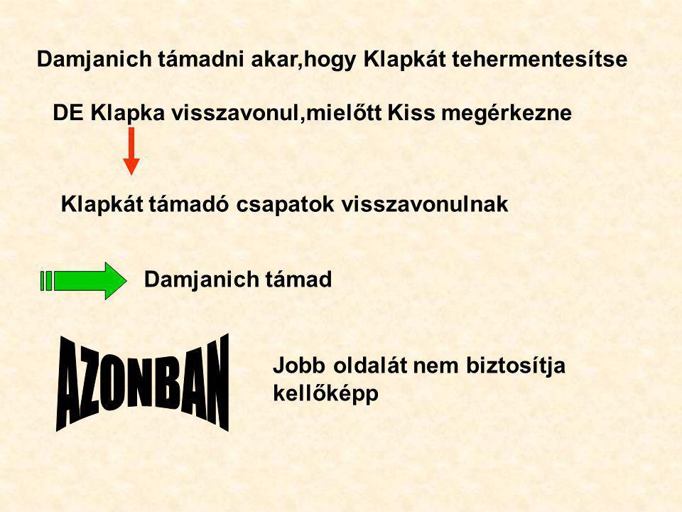 Damjanich támadni akar,hogy Klapkát tehermentesítse DE Klapka visszavonul,mielőtt Kiss megérkezne Klapkát támadó csapatok visszavonulnak Damjanich tám