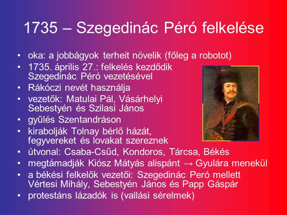 1735 – Szegedinác Péró felkelése oka: a jobbágyok terheit növelik (főleg a robotot) 1735.