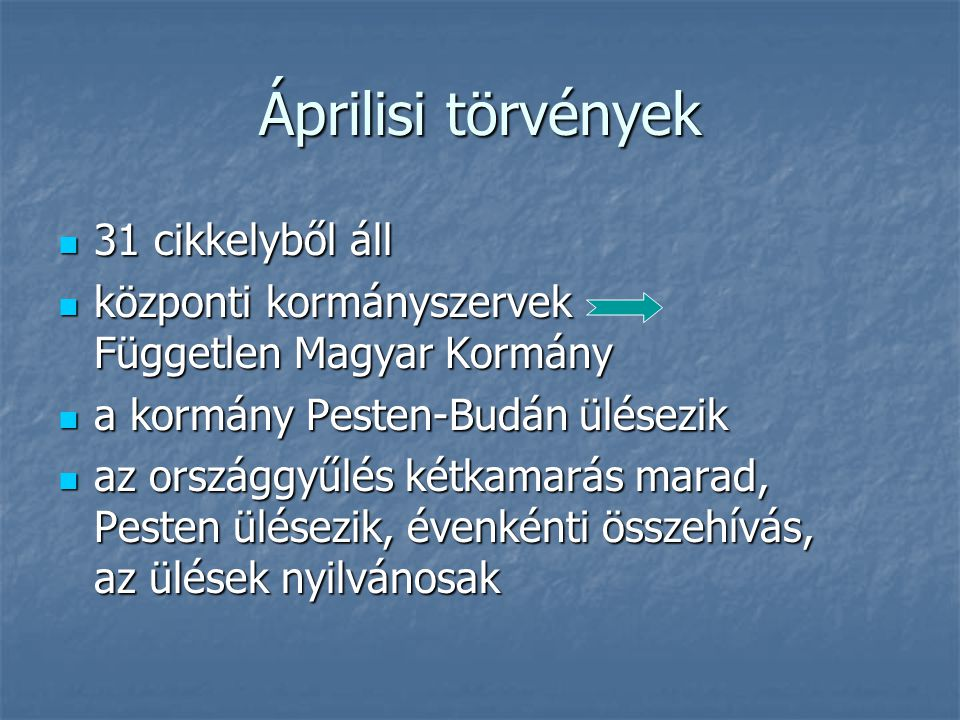 Áprilisi törvények 31 cikkelyből áll 31 cikkelyből áll központi kormányszervek Független Magyar Kormány központi kormányszervek Független Magyar Kormá
