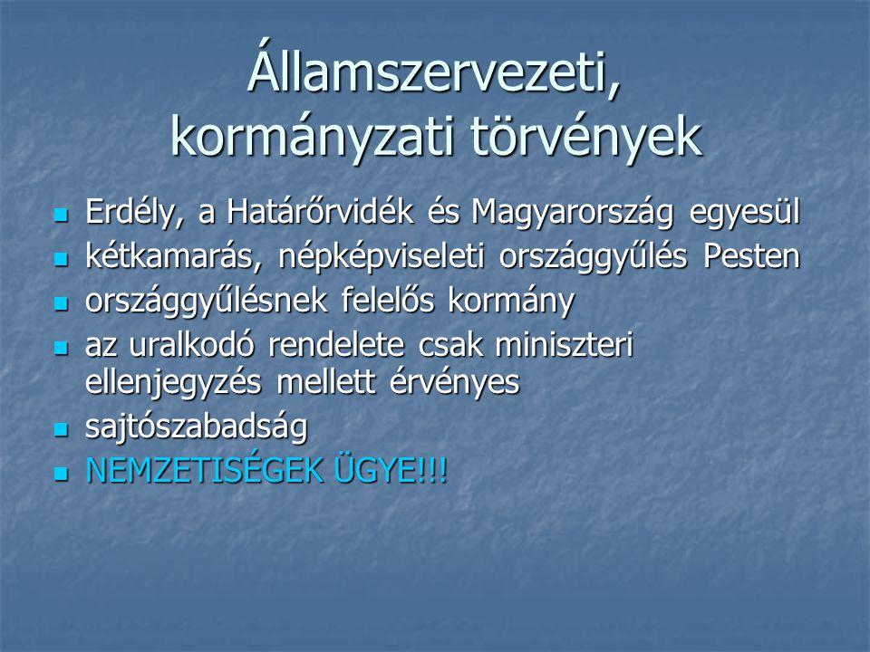 Államszervezeti, kormányzati törvények Erdély, a Határőrvidék és Magyarország egyesül Erdély, a Határőrvidék és Magyarország egyesül kétkamarás, népké