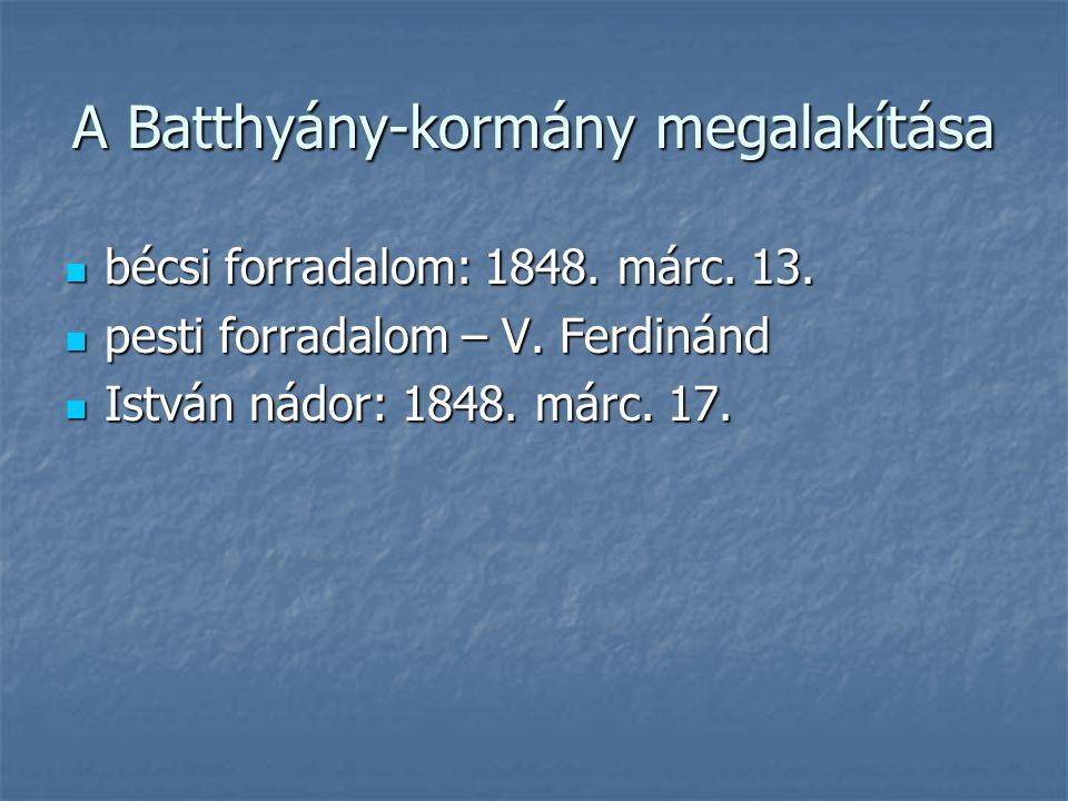 A Batthyány-kormány megalakítása bécsi forradalom: 1848. márc. 13. bécsi forradalom: 1848. márc. 13. pesti forradalom – V. Ferdinánd pesti forradalom