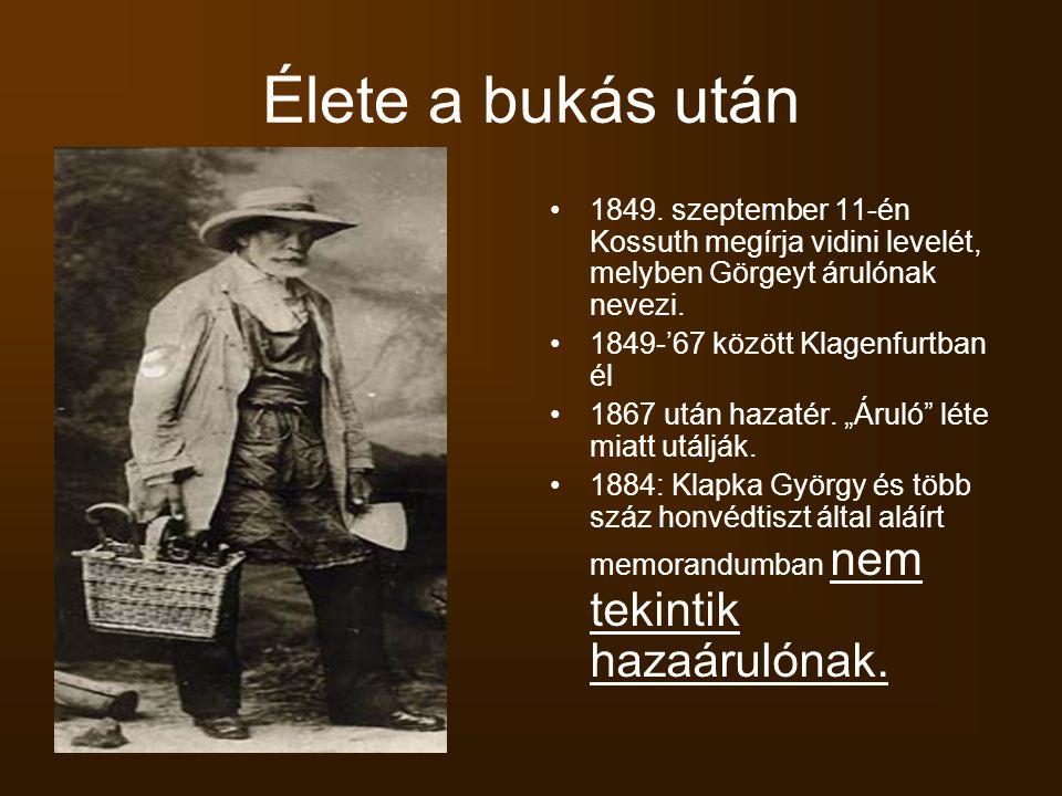 Élete a bukás után 1849.