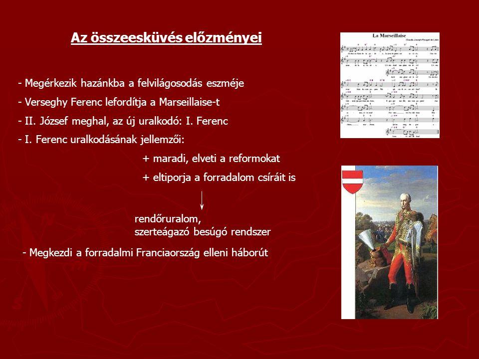 A magyar jakobinusok mozgalma - A mozgalom vezetője: Martinovics Ignác - Martinovics jellemzése:+ ferences rendi szerzetes + a titkosrendőrség tagja + az ellenzékhez menekül + szervezkedni kezd a király ellen - Két társaságot indít Reformátorok Társasága Szabadság és Egyenlőség Társasága Igazgatója: gr.