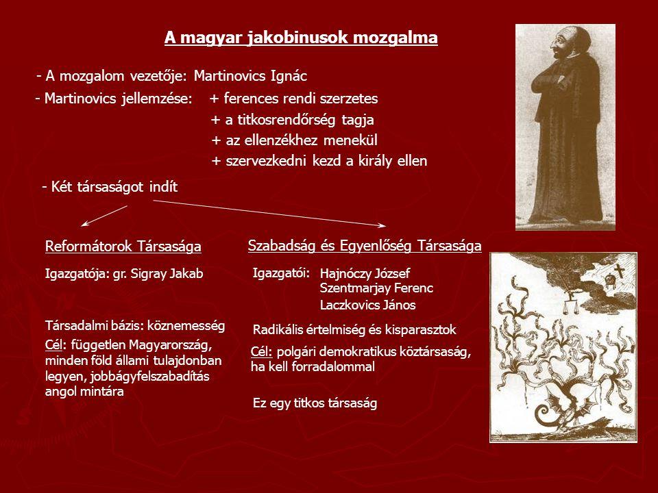 A magyar jakobinusok mozgalma - A mozgalom vezetője: Martinovics Ignác - Martinovics jellemzése:+ ferences rendi szerzetes + a titkosrendőrség tagja +