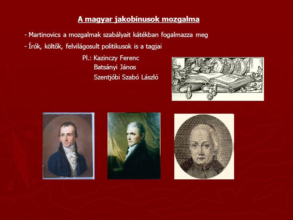 A magyar jakobinusok mozgalmának bukása - 1794-ben Bécsben elfogják Martinovicsot Martinovics kitálal a rendőröknek - Megtorlás: + büntetőperek + elfogatások + kivégzések - 50 tagot tartóztatnak le, 7 halálos ítéletet hajtanak végre - Ez a 7 Martinovics és társaságainak vezetői - 1795.