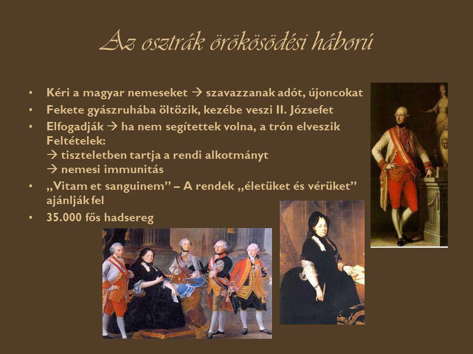 Az osztrák örökösödési háború Kéri a magyar nemeseket  szavazzanak adót, újoncokat Fekete gyászruhába öltözik, kezébe veszi II.