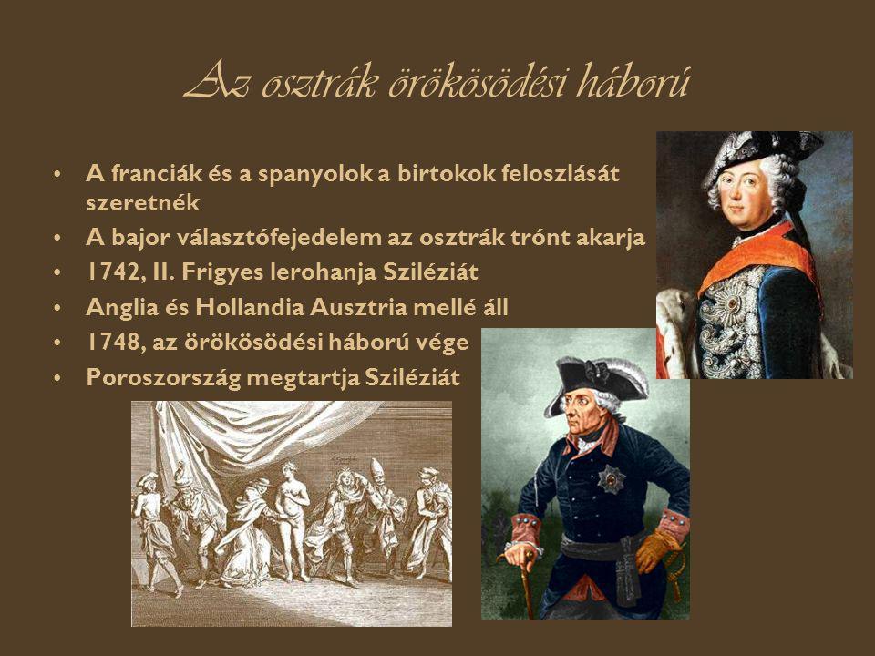 Az osztrák örökösödési háború A franciák és a spanyolok a birtokok feloszlását szeretnék A bajor választófejedelem az osztrák trónt akarja 1742, II.