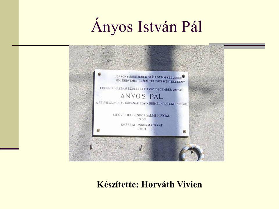 Ányos István Pál Készítette: Horváth Vivien
