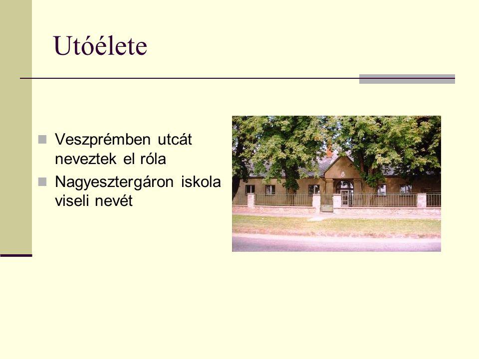 Utóélete Veszprémben utcát neveztek el róla Nagyesztergáron iskola viseli nevét