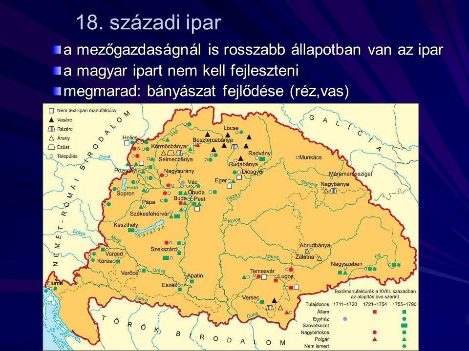 18. századi ipar a mezőgazdaságnál is rosszabb állapotban van az ipar a magyar ipart nem kell fejleszteni megmarad: bányászat fejlődése (réz,vas)