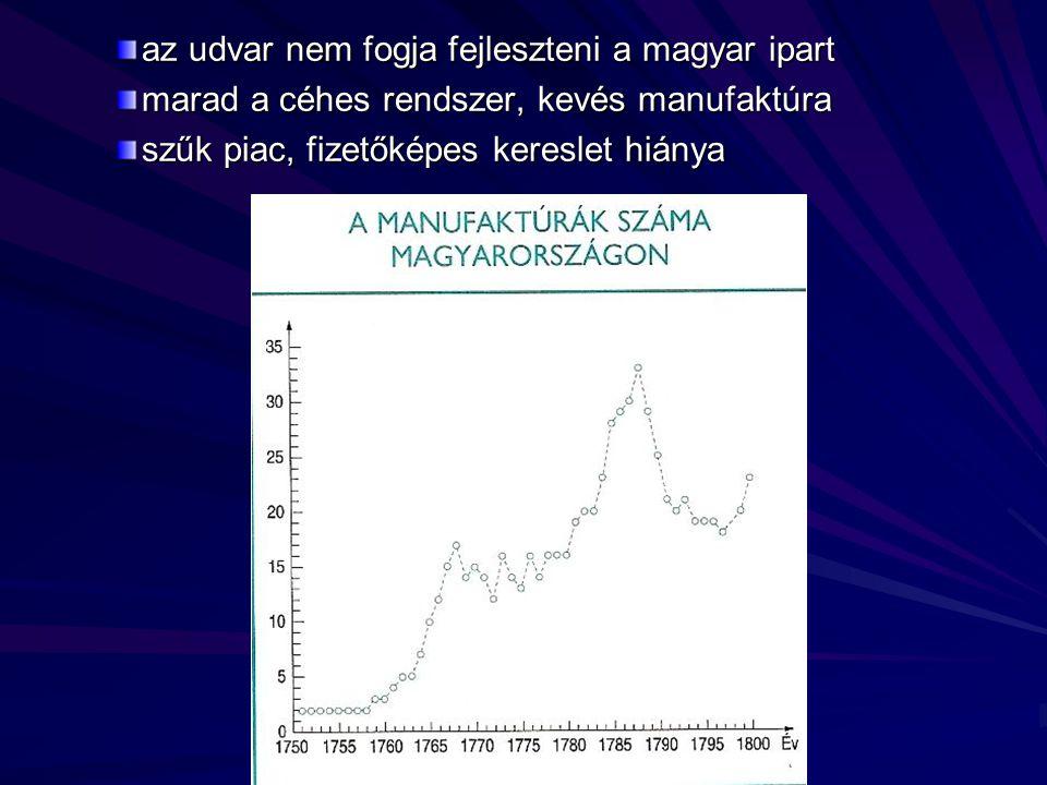 az udvar nem fogja fejleszteni a magyar ipart marad a céhes rendszer, kevés manufaktúra szűk piac, fizetőképes kereslet hiánya