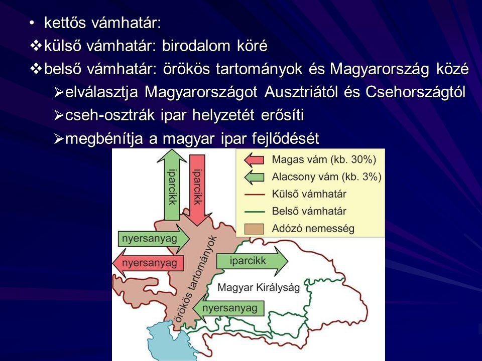 vélemények a vámrendeletről: vélemények a vámrendeletről:  szándékosan alárendelte a magyar gazdaságot a birodalom gazdaságának visszafogja a magyar ipar fejlődését  nem magyarellenes a rendelkezés, hiszen a birodalom érdeke az, hogy a legfejlettebb területeken folyjon a termelés  1850-ben eltörölték