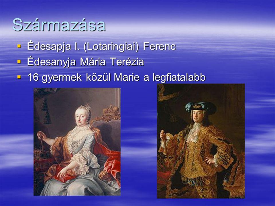 Származása  Édesapja I. (Lotaringiai) Ferenc  Édesanyja Mária Terézia  16 gyermek közül Marie a legfiatalabb