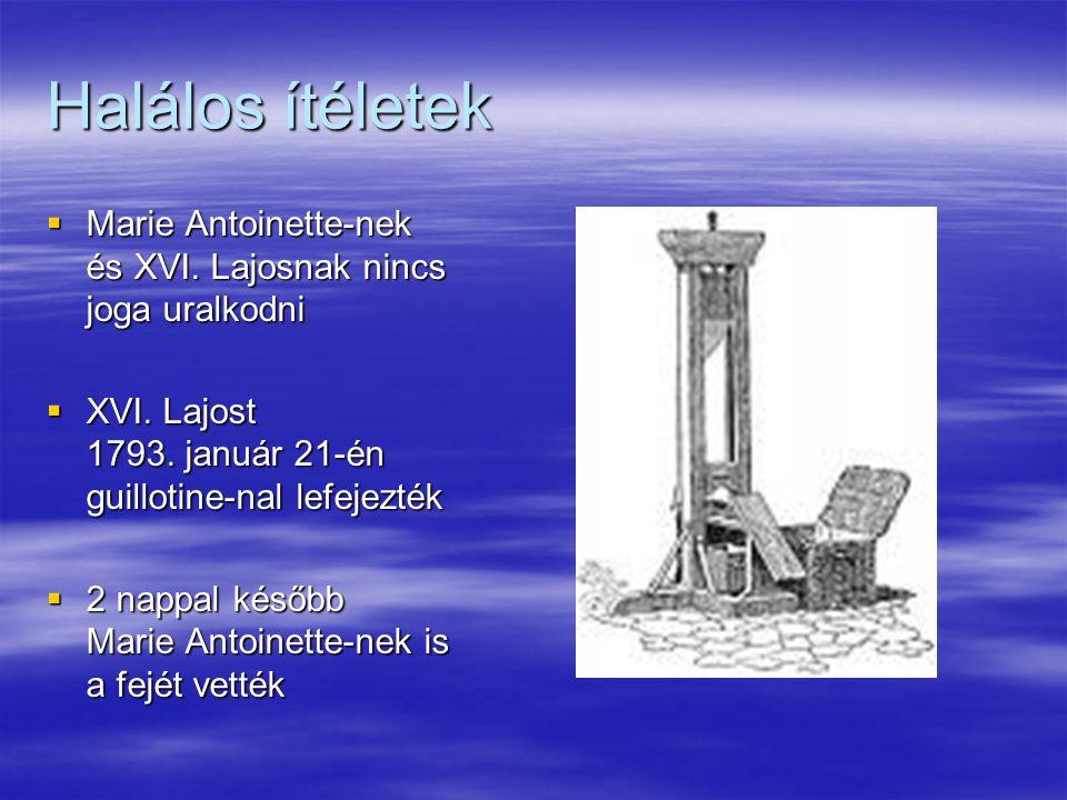 Halálos ítéletek  Marie Antoinette-nek és XVI. Lajosnak nincs joga uralkodni  XVI. Lajost 1793. január 21-én guillotine-nal lefejezték  2 nappal ké