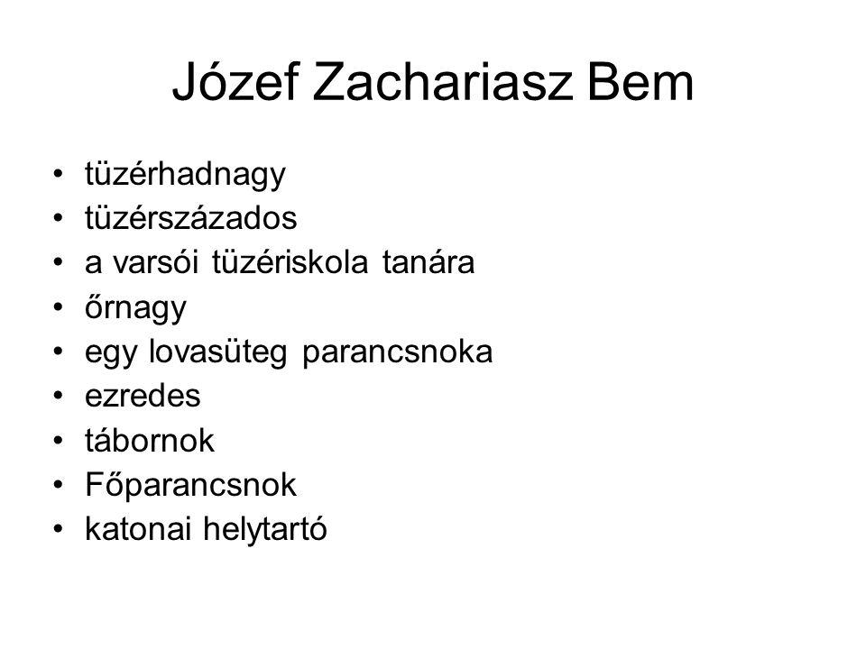 Józef Zachariasz Bem tüzérhadnagy tüzérszázados a varsói tüzériskola tanára őrnagy egy lovasüteg parancsnoka ezredes tábornok Főparancsnok katonai hel