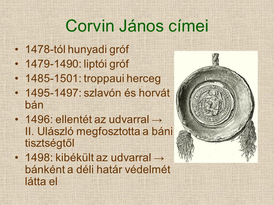 Corvin János címei 1478-tól hunyadi gróf 1479-1490: liptói gróf 1485-1501: troppaui herceg 1495-1497: szlavón és horvát bán 1496: ellentét az udvarral